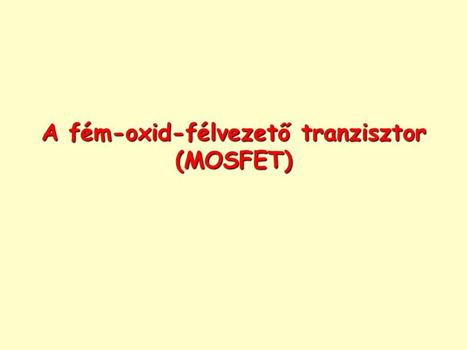Fém-oxid-félvezető (Metal Oxid Semiconductor, MOS)  1957: Az első MOS tranzisztor (MOSFET)  1970: Az első nagy tételben árult MOS IC  DRAM (dinamikus RAM)  Egy kapacitás töltése jelenti az információt, amely azonban egy idő után elszivárog, ezért egy áramkörnek rendszeresen frissítenie kell  3 tranzisztoros cellákból épült fel  1 kbit tárolóképességű  Intel készítette A MOS helyzete manapság: A vezető technológia  1 DRAM több száz millió MOSFET-et tartalmaz  Az integrált áramkörökben (IC-k) leggyakrabban a MOS tranzisztor fordul elő A MOS tranzisztor működésének alapja: a MOS kapacitás A MOS tranzisztorok