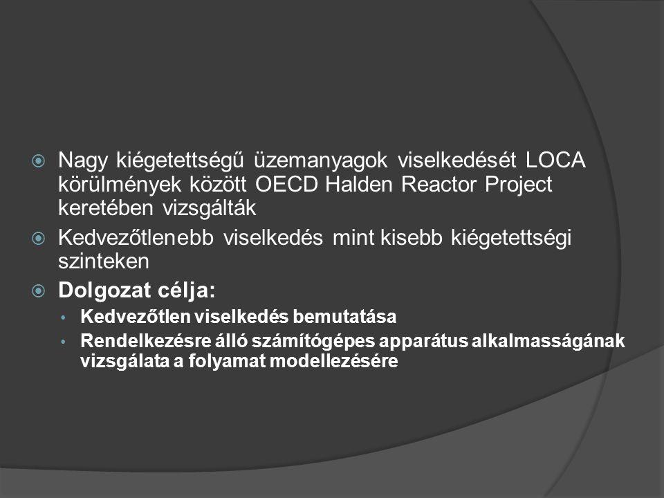  Nagy kiégetettségű üzemanyagok viselkedését LOCA körülmények között OECD Halden Reactor Project keretében vizsgálták  Kedvezőtlenebb viselkedés mint kisebb kiégetettségi szinteken  Dolgozat célja: Kedvezőtlen viselkedés bemutatása Rendelkezésre álló számítógépes apparátus alkalmasságának vizsgálata a folyamat modellezésére