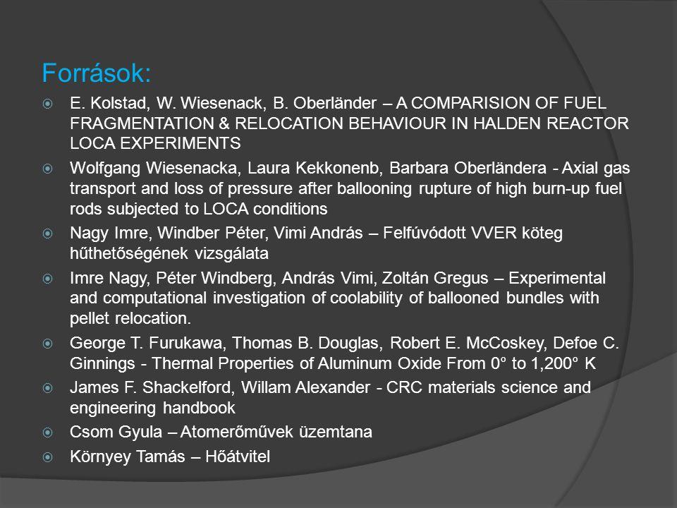 Források:  E. Kolstad, W. Wiesenack, B.