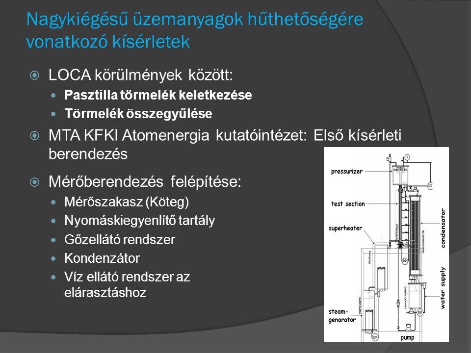 Nagykiégésű üzemanyagok hűthetőségére vonatkozó kísérletek  LOCA körülmények között: Pasztilla törmelék keletkezése Törmelék összegyűlése  MTA KFKI Atomenergia kutatóintézet: Első kísérleti berendezés  Mérőberendezés felépítése: Mérőszakasz (Köteg) Nyomáskiegyenlítő tartály Gőzellátó rendszer Kondenzátor Víz ellátó rendszer az elárasztáshoz