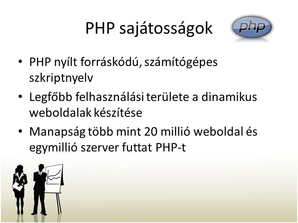 PHP sajátosságok PHP nyílt forráskódú, számítógépes szkriptnyelv Legfőbb felhasználási területe a dinamikus weboldalak készítése Manapság több mint 20