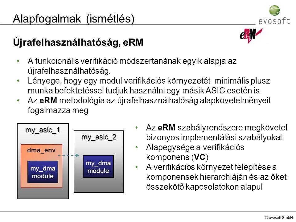 © evosoft GmbH Alapfogalmak (ismétlés) Újrafelhasználhatóság, eRM my_asic_1 dma_env my_asic_2 A funkcionális verifikáció módszertanának egyik alapja a