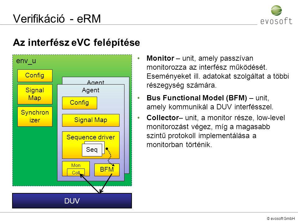 © evosoft GmbH Verifikáció - eRM Az interfész eVC felépítése Monitor – unit, amely passzívan monitorozza az interfész működését. Eseményeket ill. adat