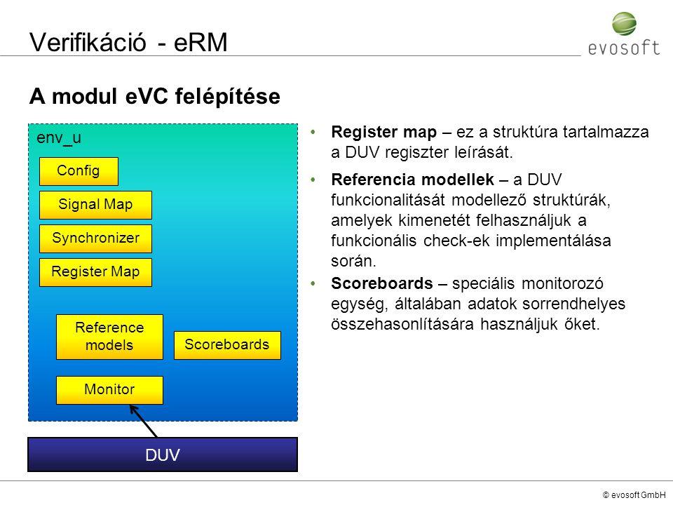 © evosoft GmbH Verifikáció - eRM A modul eVC felépítése env_u Config Signal Map Register Map Monitor Reference models Synchronizer Scoreboards DUV Reg