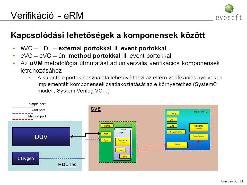 © evosoft GmbH Verifikáció - eRM Kapcsolódási lehetőségek a komponensek között eVC – HDL – external portokkal ill. event portokkal eVC – eVC – ún. met