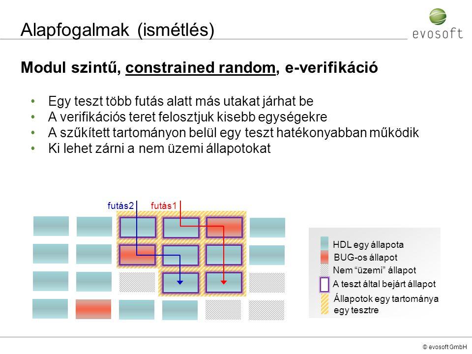 © evosoft GmbH e-nyelv Coverage cover, item és cross kulcsszavak unit monitor_u { event ev_01_e; event ev_02_e; variable_x : uint; variable_y : uint; -- coverage group definition cover ev_01_e is { item cov_var_x : uint = variable_x; }; cover ev_02_e is { -- coverage item definition using ranges item cov_var_y : uint = variable_y using ranges = { range([0..100], var between 0 and 100 ); range([101..200], var between 101 and 200 ); }; item cov_var_x : uint = variable_x; -- cross coverage matrix definition cross cov_var_y, cov_var_x using name = cc__cov_var_y__cov_var_x; -- defining complex coverage item item cov_var_x_compl : uint = variable_x using when = ((variable_x in [400..500]) and (variable_y % 2 == 0)), ignore = (variable_x == variable_y); }; unit monitor_u { event ev_01_e; event ev_02_e; variable_x : uint; variable_y : uint; -- coverage group definition cover ev_01_e is { item cov_var_x : uint = variable_x; }; cover ev_02_e is { -- coverage item definition using ranges item cov_var_y : uint = variable_y using ranges = { range([0..100], var between 0 and 100 ); range([101..200], var between 101 and 200 ); }; item cov_var_x : uint = variable_x; -- cross coverage matrix definition cross cov_var_y, cov_var_x using name = cc__cov_var_y__cov_var_x; -- defining complex coverage item item cov_var_x_compl : uint = variable_x using when = ((variable_x in [400..500]) and (variable_y % 2 == 0)), ignore = (variable_x == variable_y); };