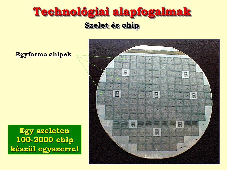 Technológiai alapfogalmak Szelet és chip Technológiai alapfogalmak Szelet és chip Egyforma chipek Egy szeleten 100-2000 chip készül egyszerre!
