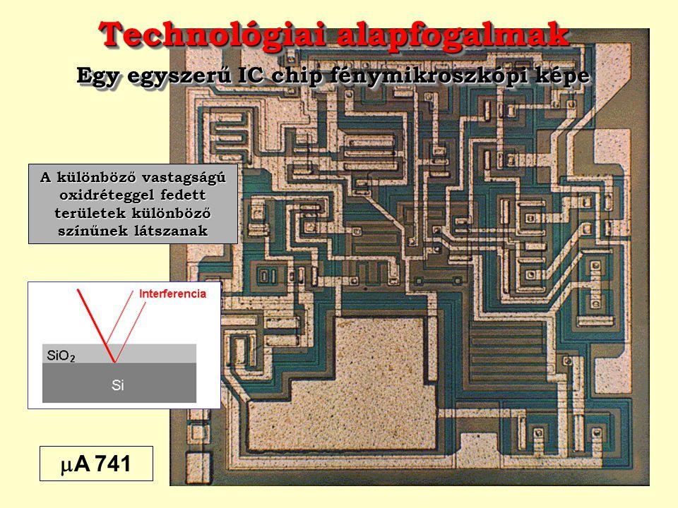 Technológiai alapfogalmak Egy egyszerű IC chip fénymikroszkópi képe Technológiai alapfogalmak Egy egyszerű IC chip fénymikroszkópi képe  A 741 A külö