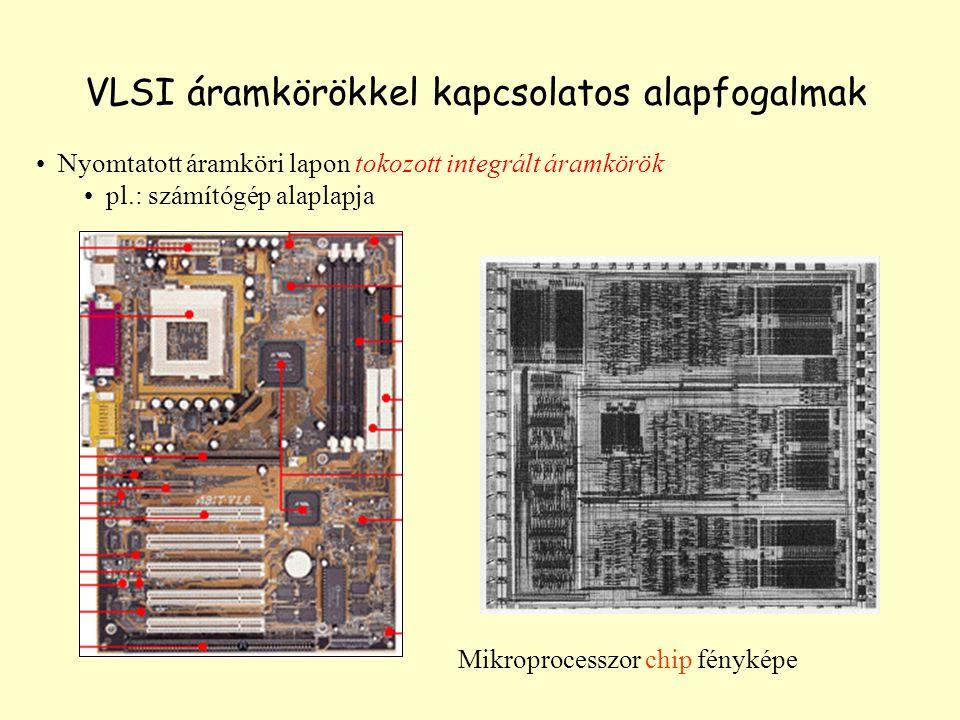VLSI áramkörökkel kapcsolatos alapfogalmak Nyomtatott áramköri lapon tokozott integrált áramkörök pl.: számítógép alaplapja Mikroprocesszor chip fényk