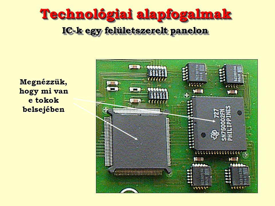 Technológiai alapfogalmak Egy egyszerű IC chip fénymikroszkópi képe Technológiai alapfogalmak Egy egyszerű IC chip fénymikroszkópi képe  A 741 A különböző vastagságú oxidréteggel fedett területek különböző színűnek látszanak