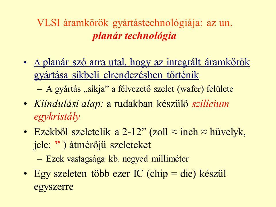 Technológiai alapfogalmak Csíkszélesség (feature size) Technológiai alapfogalmak Csíkszélesség (feature size) Diffúziós csík Fémezés csík Diffúziós csík Fémezés csík Elektron-mikroszkópos felvétel A csík szélessége a kezdetekkor: 12 - 15  m Ma 0,18  m