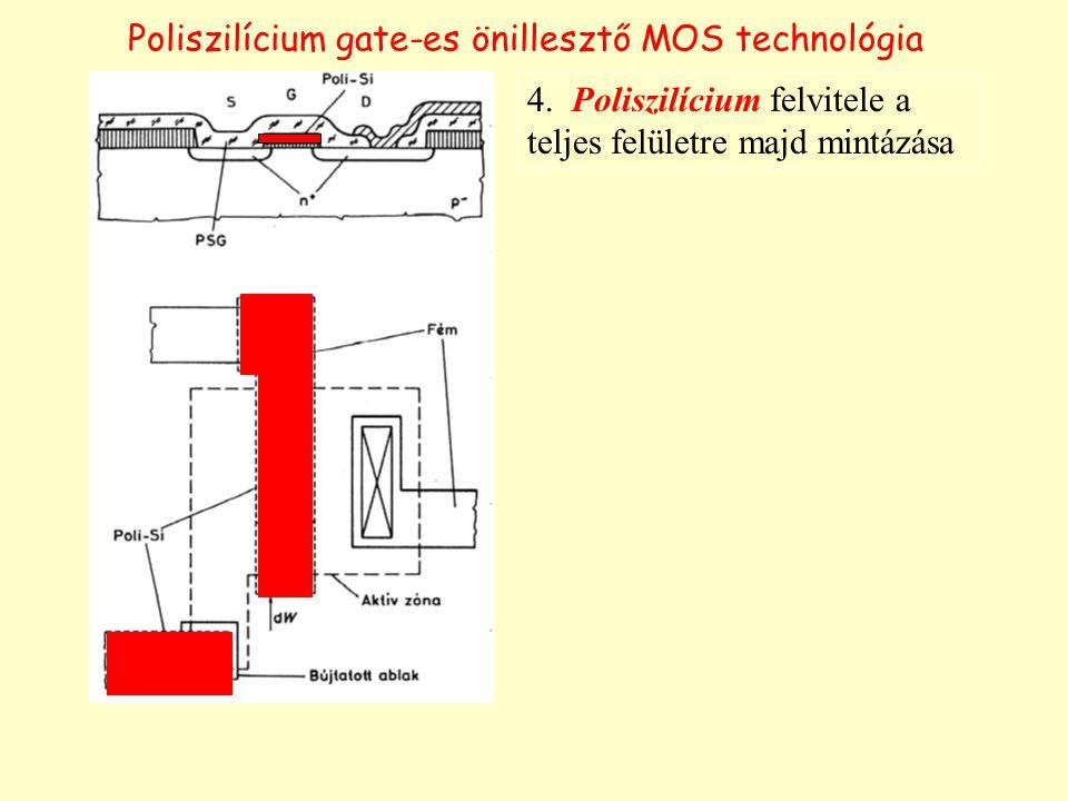 Poliszilícium gate-es önillesztő MOS technológia 4. Poliszilícium felvitele a teljes felületre majd mintázása