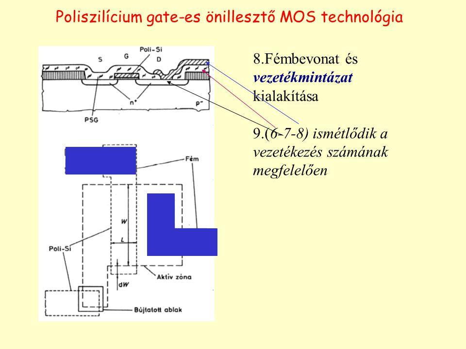 Poliszilícium gate-es önillesztő MOS technológia 8.Fémbevonat és vezetékmintázat kialakítása 9.(6-7-8) ismétlődik a vezetékezés számának megfelelően