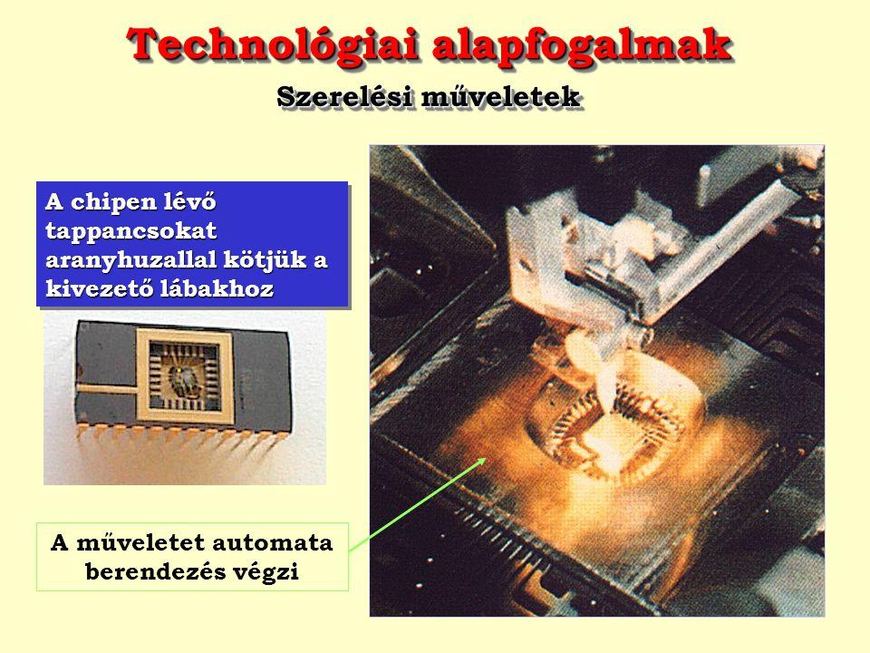 Technológiai alapfogalmak Szerelési műveletek Technológiai alapfogalmak Szerelési műveletek A chipen lévő tappancsokat aranyhuzallal kötjük a kivezető