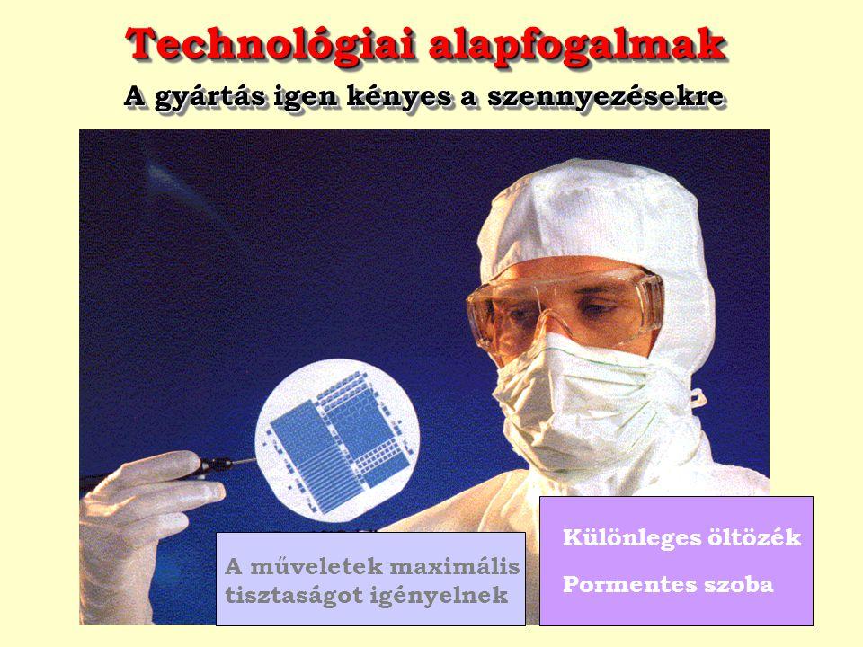 Technológiai alapfogalmak A gyártás igen kényes a szennyezésekre Technológiai alapfogalmak A gyártás igen kényes a szennyezésekre A műveletek maximáli