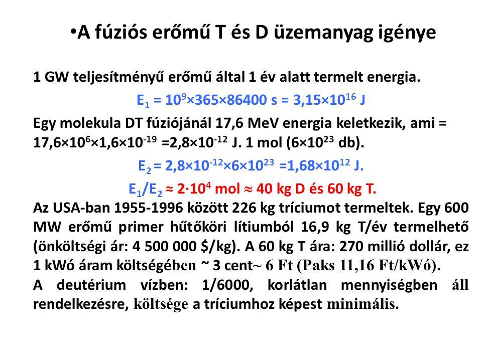 1 GW teljesítményű erőmű által 1 év alatt termelt energia. E 1 = 10 9 ×365×86400 s = 3,15×10 16 J Egy molekula DT fúziójánál 17,6 MeV energia keletkez