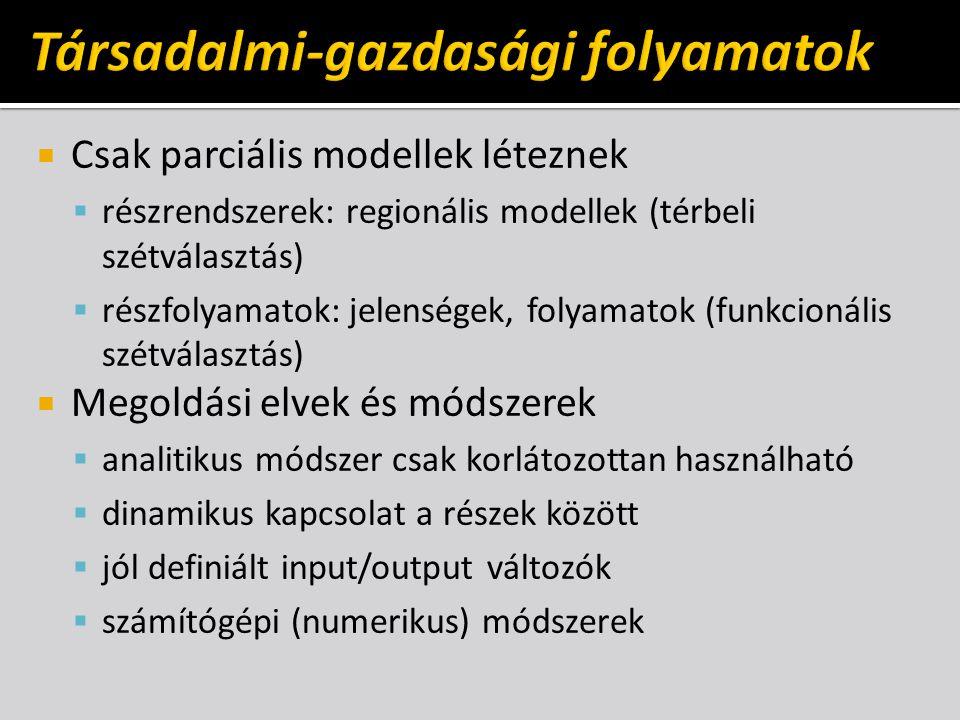  Csak parciális modellek léteznek  részrendszerek: regionális modellek (térbeli szétválasztás)  részfolyamatok: jelenségek, folyamatok (funkcionáli