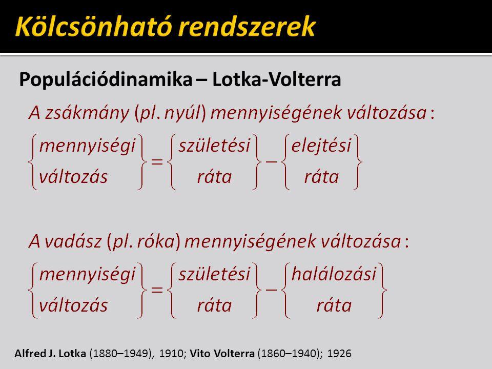 Populációdinamika – Lotka-Volterra Alfred J. Lotka (1880–1949), 1910; Vito Volterra (1860–1940); 1926