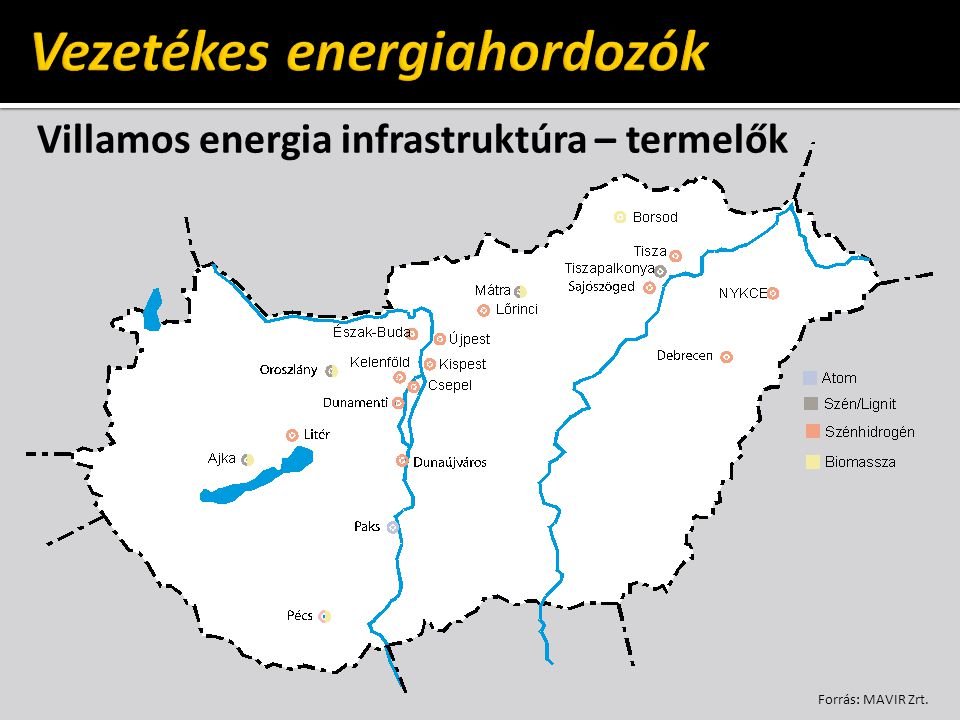 Villamos energia infrastruktúra – termelők Forrás: MAVIR Zrt.