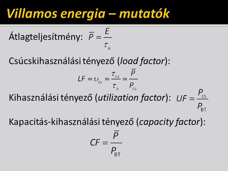Átlagteljesítmény: Csúcskihasználási tényező (load factor): Kihasználási tényező (utilization factor): Kapacitás-kihasználási tényező (capacity factor