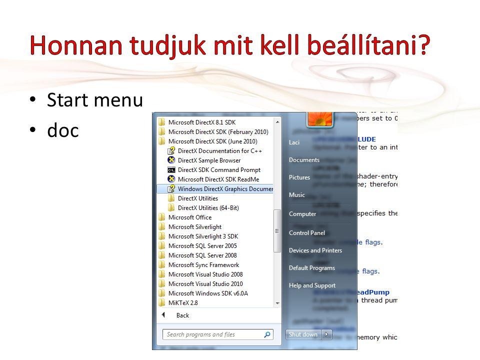 Start menu doc