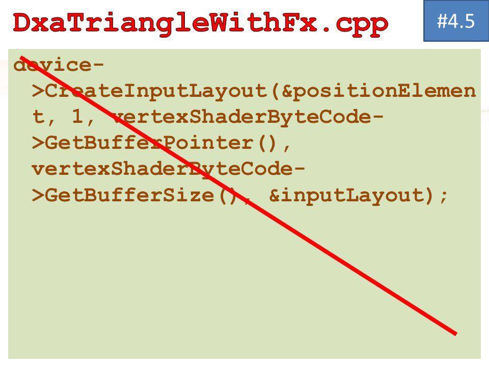 device- >CreateInputLayout(&positionElemen t, 1, vertexShaderByteCode- >GetBufferPointer(), vertexShaderByteCode- >GetBufferSize(), &inputLayout); #4.5