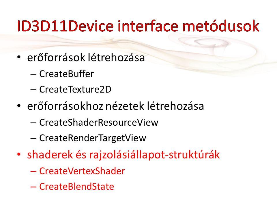 erőforrások létrehozása – CreateBuffer – CreateTexture2D erőforrásokhoz nézetek létrehozása – CreateShaderResourceView – CreateRenderTargetView shaderek és rajzolásiállapot-struktúrák – CreateVertexShader – CreateBlendState