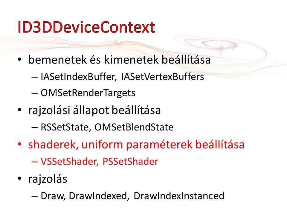 bemenetek és kimenetek beállítása – IASetIndexBuffer, IASetVertexBuffers – OMSetRenderTargets rajzolási állapot beállítása – RSSetState, OMSetBlendState shaderek, uniform paraméterek beállítása – VSSetShader, PSSetShader rajzolás – Draw, DrawIndexed, DrawIndexInstanced