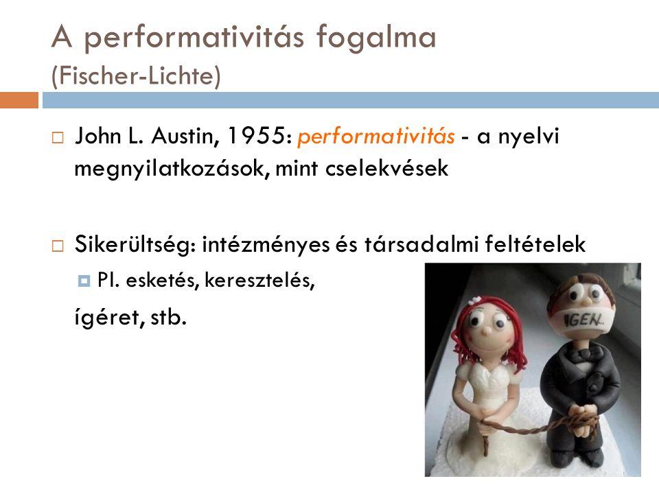 A performativitás fogalma (Fischer-Lichte)  John L. Austin, 1955: performativitás - a nyelvi megnyilatkozások, mint cselekvések  Sikerültség: intézm