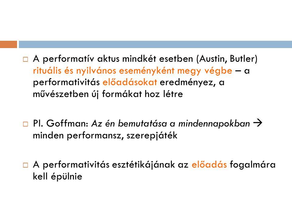  A performatív aktus mindkét esetben (Austin, Butler) rituális és nyilvános eseményként megy végbe – a performativitás előadásokat eredményez, a művé