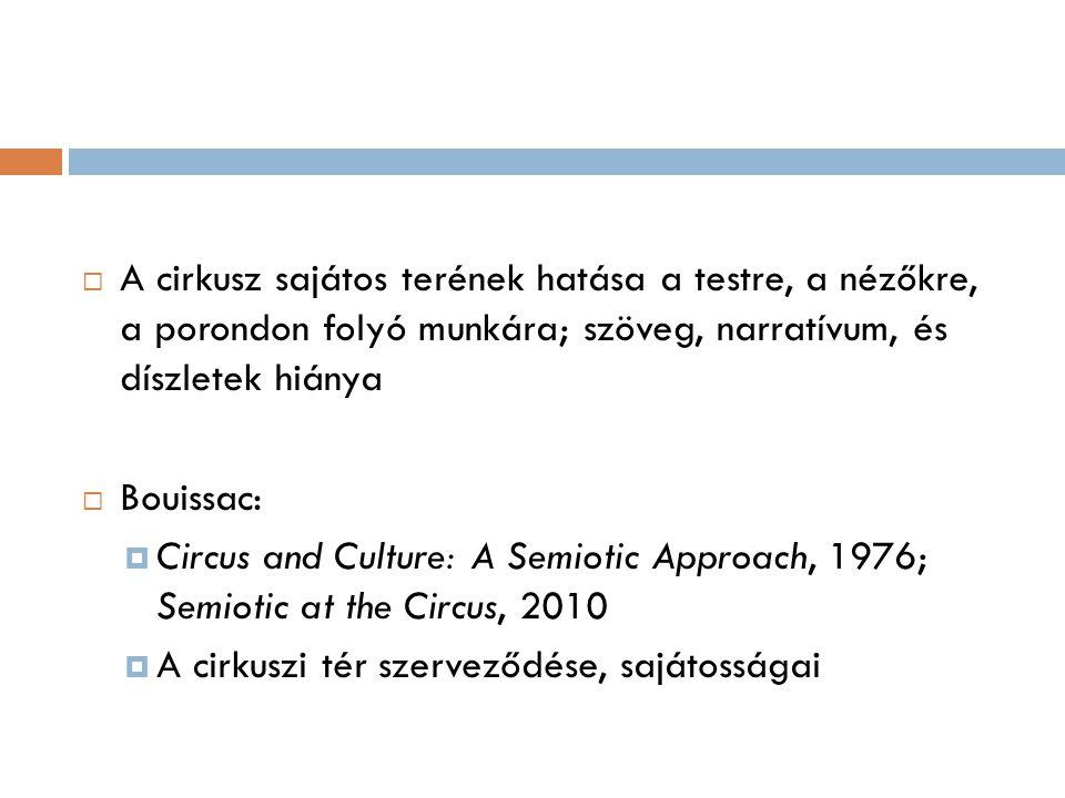  A cirkusz sajátos terének hatása a testre, a nézőkre, a porondon folyó munkára; szöveg, narratívum, és díszletek hiánya  Bouissac:  Circus and Cul