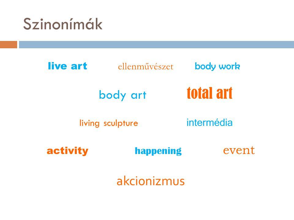 Szinonímák live art ellenművészet body work body art total art living sculpture intermédia activity happening event akcionizmus