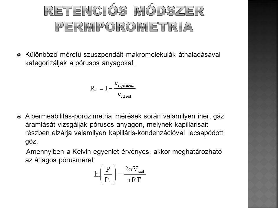  Folyadék/gáz: Inert gáz áramlását a pórusos anyagokon keresztül, melynek pórusait valamilyen nedvesítő folyadék zárja el.