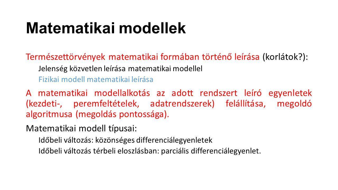 Matematikai modellek Természettörvények matematikai formában történő leírása (korlátok?): Jelenség közvetlen leírása matematikai modellel Fizikai mode