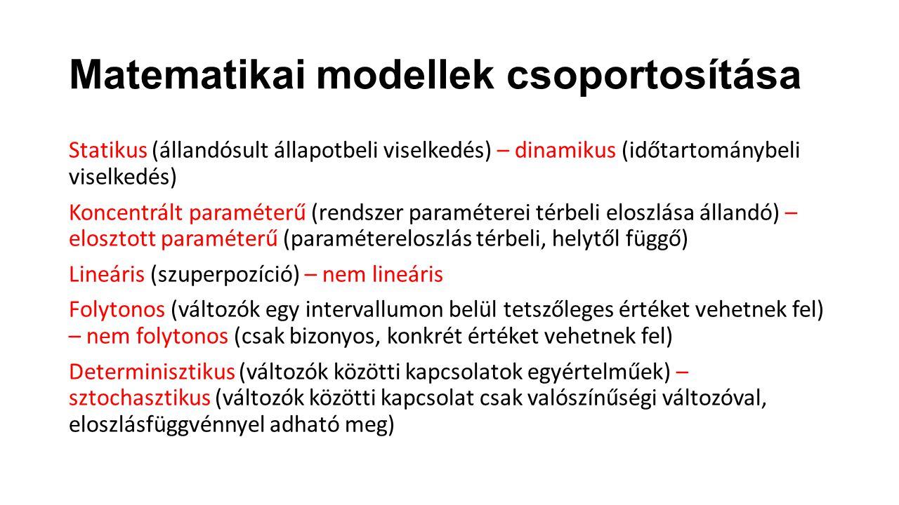 Matematikai modellek csoportosítása Statikus (állandósult állapotbeli viselkedés) – dinamikus (időtartománybeli viselkedés) Koncentrált paraméterű (re