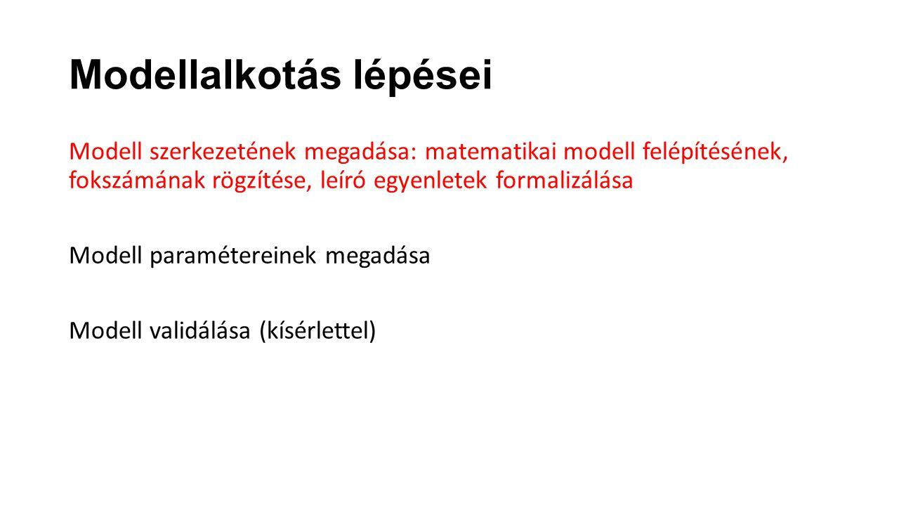Modellalkotás lépései Modell szerkezetének megadása: matematikai modell felépítésének, fokszámának rögzítése, leíró egyenletek formalizálása Modell pa