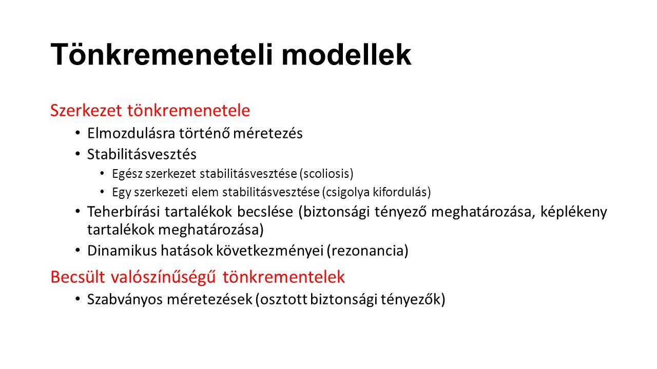 Szerkezet tönkremenetele Elmozdulásra történő méretezés Stabilitásvesztés Egész szerkezet stabilitásvesztése (scoliosis) Egy szerkezeti elem stabilitá