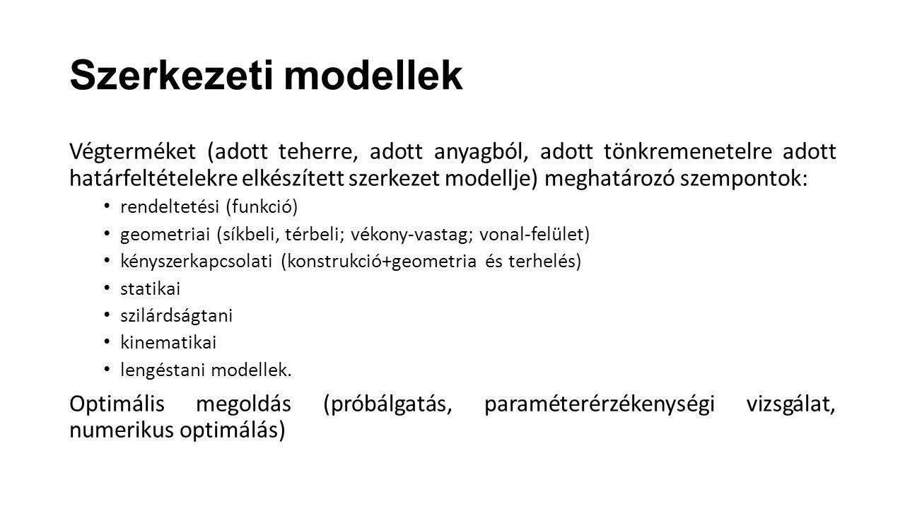Szerkezeti modellek Végterméket (adott teherre, adott anyagból, adott tönkremenetelre adott határfeltételekre elkészített szerkezet modellje) meghatár