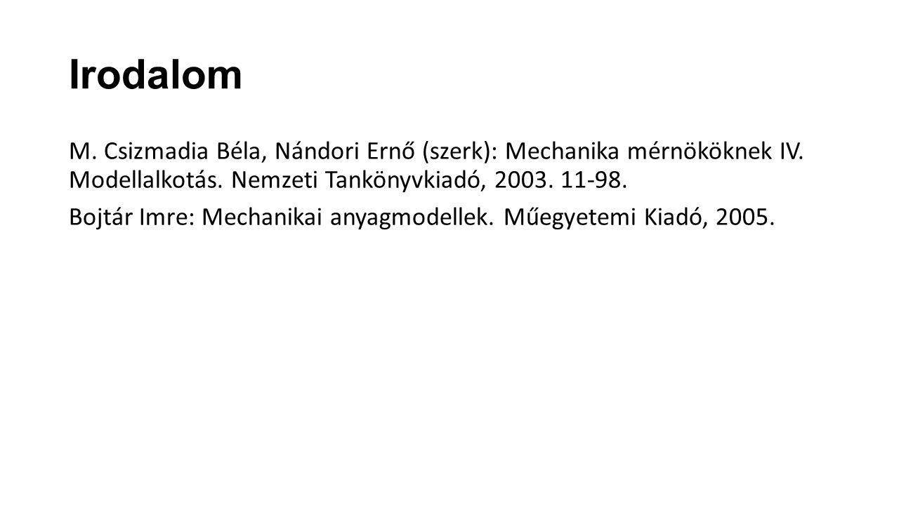 Irodalom M. Csizmadia Béla, Nándori Ernő (szerk): Mechanika mérnököknek IV. Modellalkotás. Nemzeti Tankönyvkiadó, 2003. 11-98. Bojtár Imre: Mechanikai