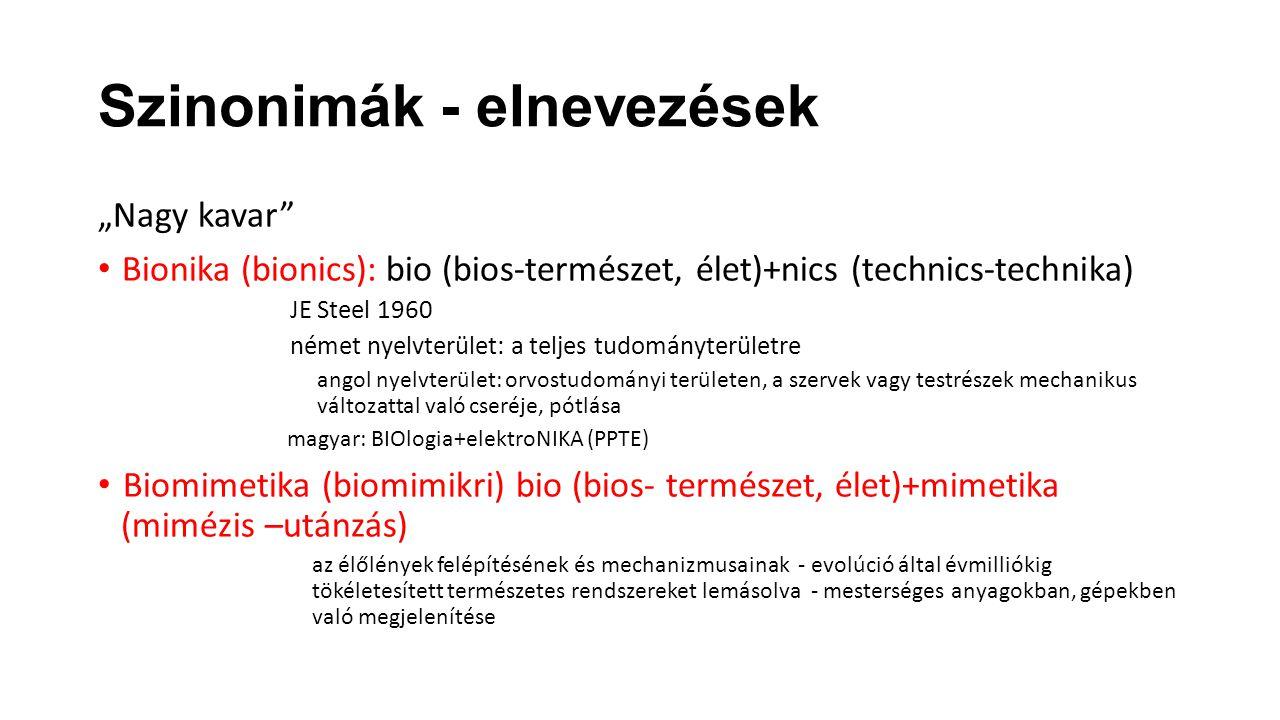 """Szinonimák - elnevezések """"Nagy kavar"""" Bionika (bionics):bio (bios-természet, élet)+nics (technics-technika) JE Steel 1960 német nyelvterület: a teljes"""