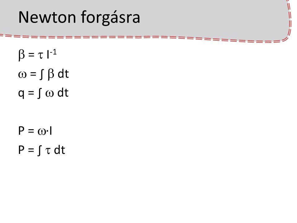 Euler integrálás forgásra  forgatónyomaték:  = (p - x) × F P(t + dt) = P(t) +  ·dt szögsebesség a perdületből:  (t + dt) = P(t + dt) R T I -1 R q(t+dt) = q(t) +  (t + dt)·dt??.