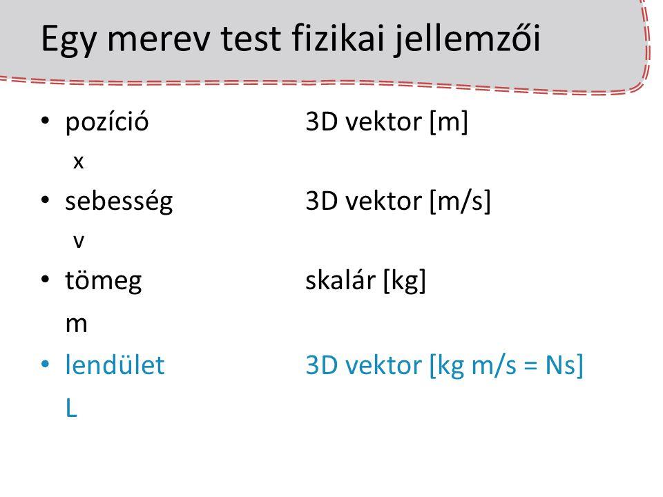 Egy merev test fizikai jellemzői orientációforgatás [fordulat] q szögsebesség3D vektor [fordulat / s]  tehetetlenségi nyomatékskalár [kg m 2 ] I (mass moment of inertia, angular mass) perdület3D vektor [Nms] P