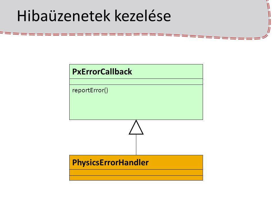 Hibaüzenetek kezelése physicsErrorHandler = new PhysicsErrorHandler(); PxCreateFoundation(PX_PHYSICS_VERSION, gDefaultAllocatorCallback, physicsErrorHandler); SDK létrehozásakor: A mi PhysicsErrorHandler-ünk metódusai hívódnak – Feldobunk bennük egy ablakot a hibaüzenettel