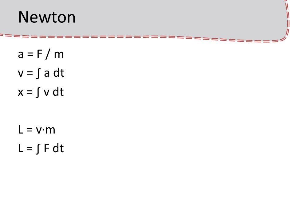 Euler integrálás a következő állapotot úgy határozzuk meg, hogy a deriváltakat dt ideig állandónak tekintjük f(t + dt) = f(t) + f(t) · dt nem pontos, nem hatékony, de egyszerű