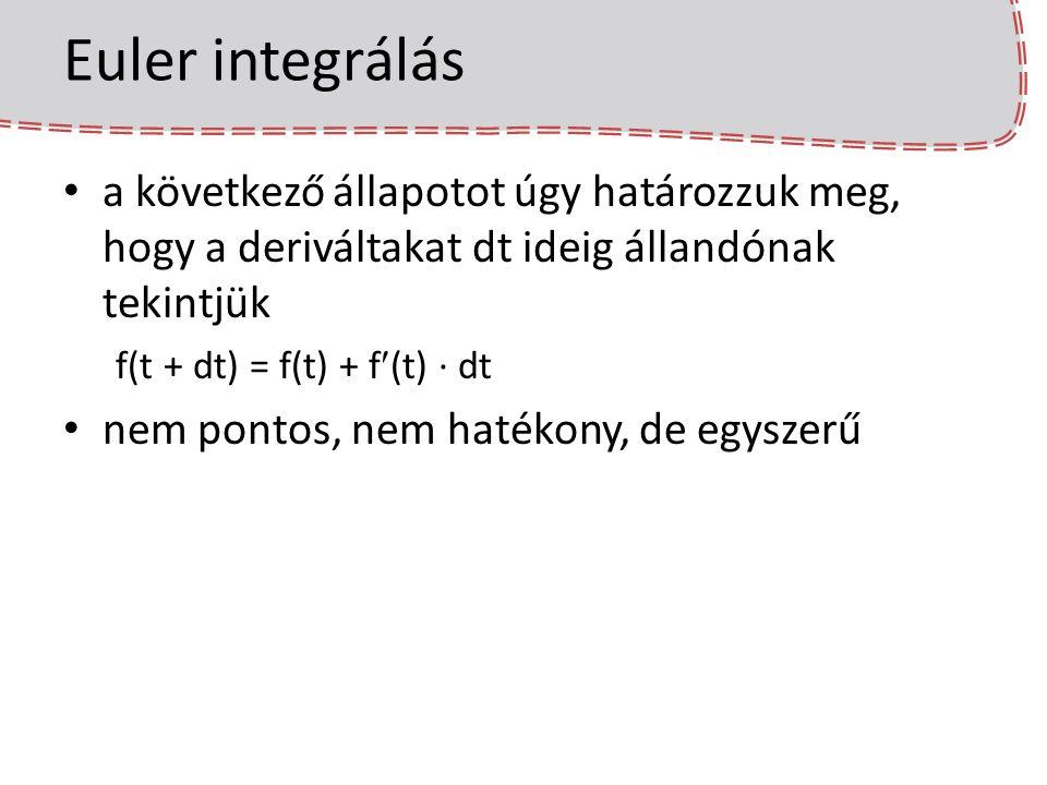 Euler integrálás sebességgel F erő adott a gyorsulás: a = F / m v(t + dt) = v(t) + a·dt x(t + dt) = x(t) + v(t + dt)·dt