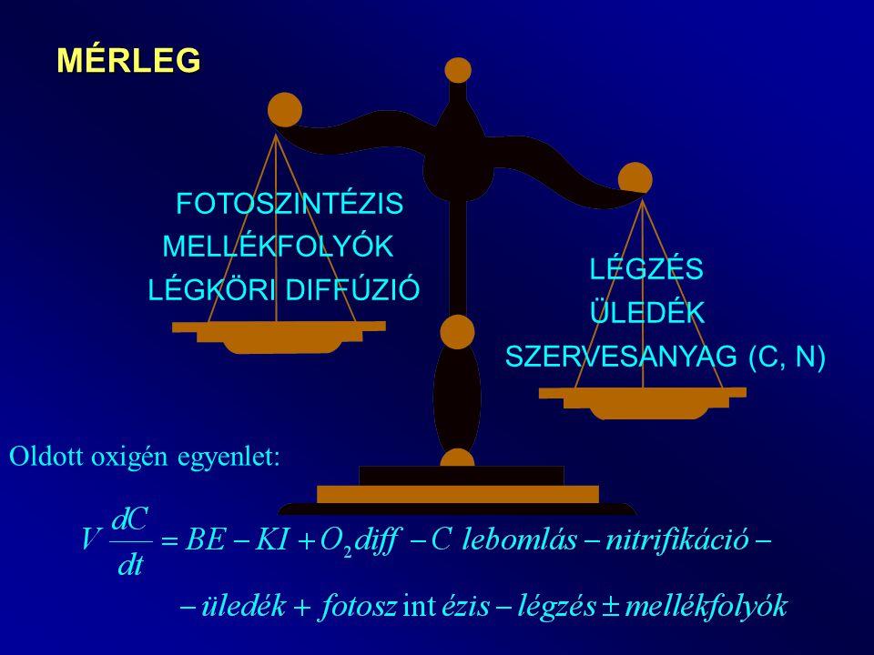 Fotoszintézis, légzés 6CO 2 + 6H 2 0  C 6 H 12 O 6 + 6O 2 Napfény, glükóz Fotoszintézis (P mgO 2 /m 3,nap) 6CO 2 + 6H 2 0  C 6 H 12 O 6 + 6O 2 Légzés (R mgO 2 /m 3,nap) Sötétben t (h) P, R 24 t (h) O2O2 24 Cs túltelítettség CC t1t1 t2t2 PaPa PmPm Napi átlagos O 2 termelés Pm mérésből: fotoperiódus R, P számításból: alga egyenlet (Klorofill-a * a = P) Oldott O 2 egyenletbe