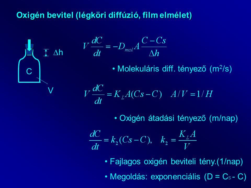 Oxigén bevitel (légköri diffúzió, film elmélet) C V hh Molekuláris diff. tényező (m 2 /s) Oxigén átadási tényező (m/nap) Fajlagos oxigén beviteli té