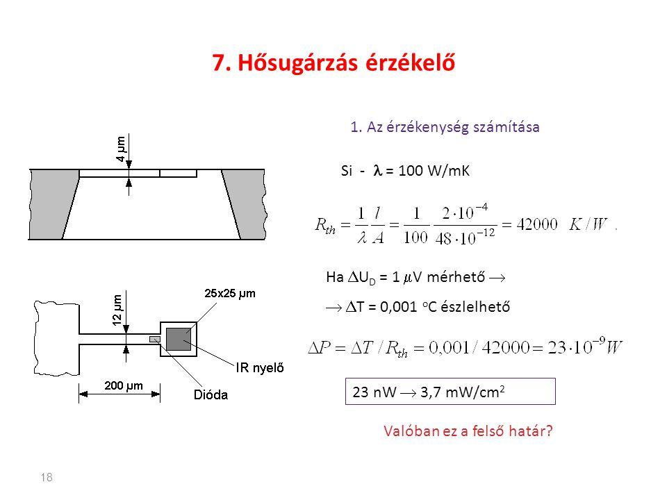 18 7. Hősugárzás érzékelő 1. Az érzékenység számítása Si - = 100 W/mK Ha  U D = 1  V mérhető    T = 0,001 o C észlelhető 23 nW  3,7 mW/cm 2 Való