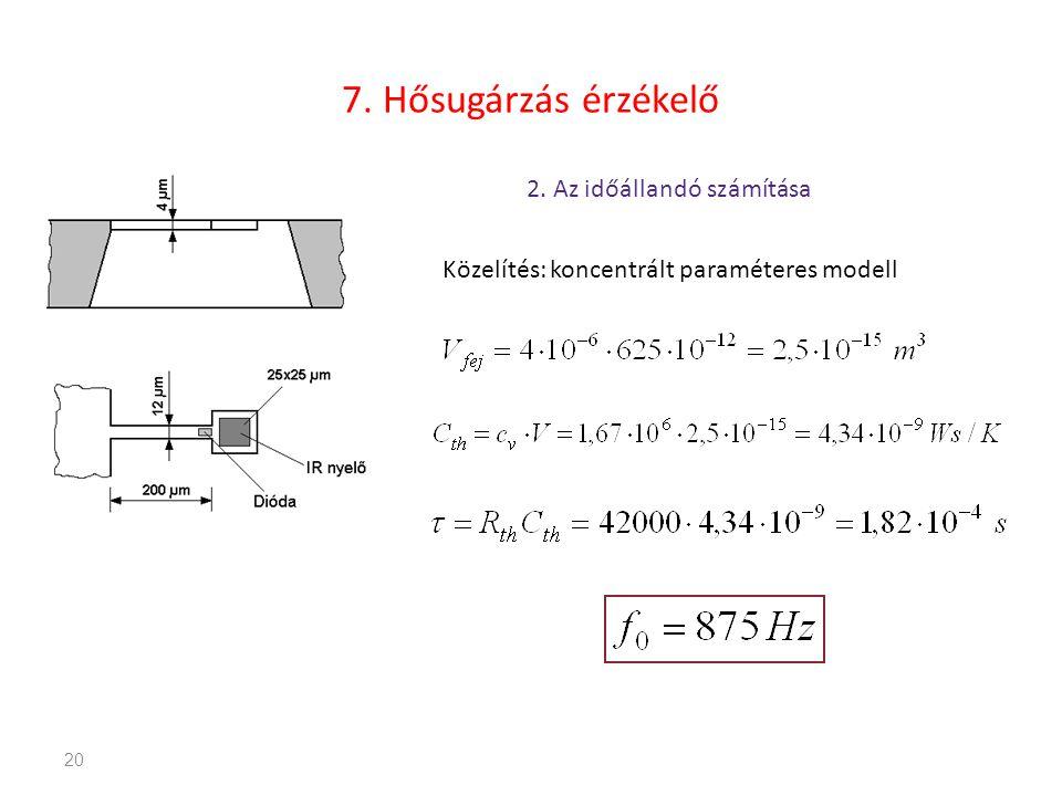 20 7. Hősugárzás érzékelő 2. Az időállandó számítása Közelítés: koncentrált paraméteres modell