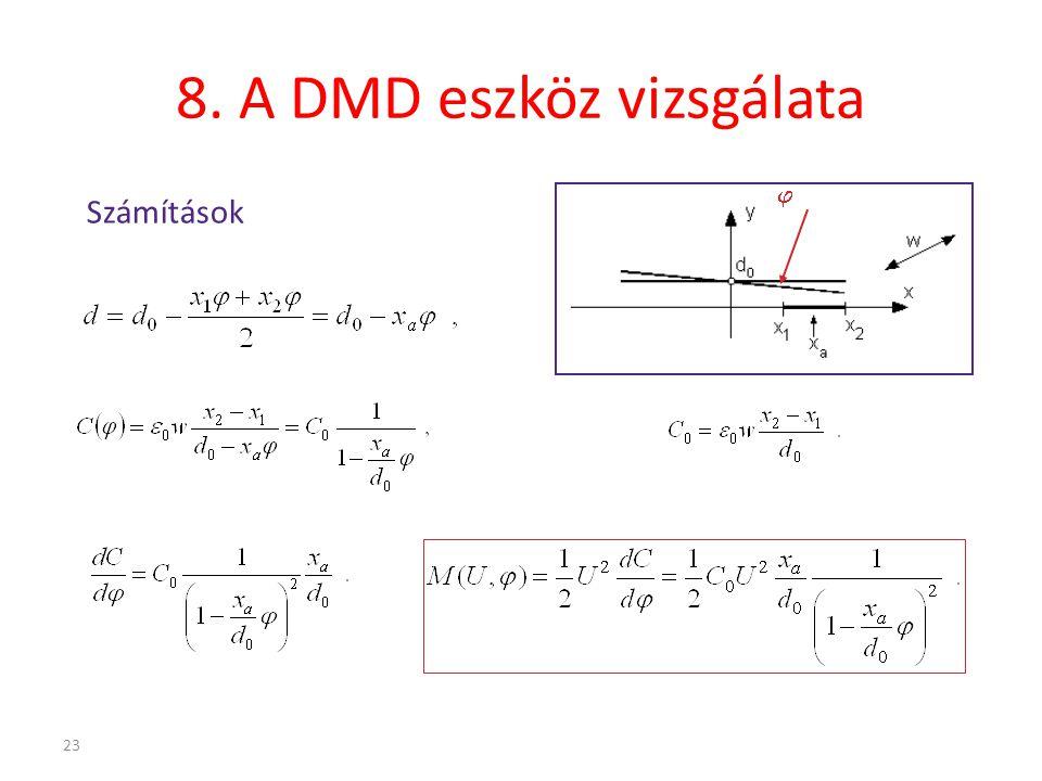 23 8. A DMD eszköz vizsgálata Számítások 
